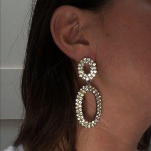 Vintage diamond rhinestone pierced earrings